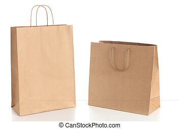 Two paper shopping bags with handle
