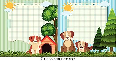Two paper template with cute dogs in the park