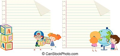 Two paper template with kids and toys