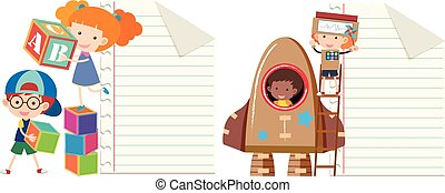 Two paper template with kids playing toys