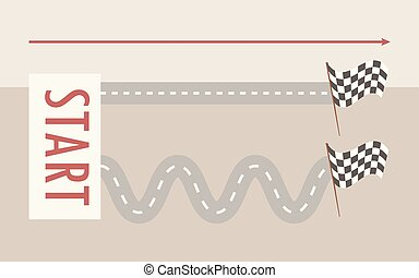 Two parallel roads straight and winding from left to right from the signboard start to the finish flag on a light gray background arrow direction vector illustration.