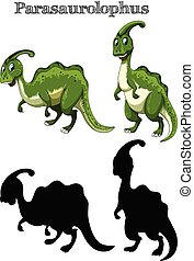 Two parasaurolophus with silhouette on white background