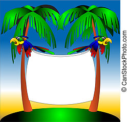 two parrots on background of the palm