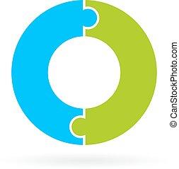 Two part jigsaw circle diagram template