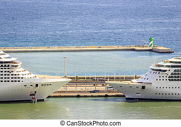 Two passenger ships ready for cruise