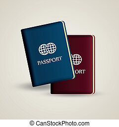 passport - two passport with different color on a white...