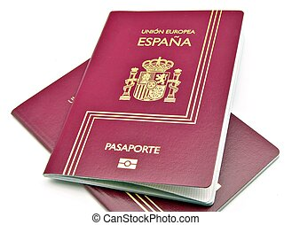 Two passports from Spain in red, surrounded by white ...