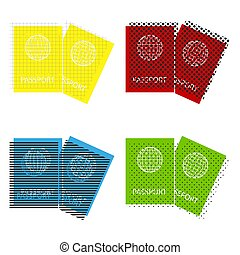Two passports sign illustration. Vector. Yellow, red, blue, gree