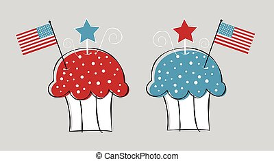 Two Patriotic Cupcakes
