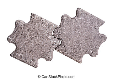 Two paving stones isolated on a white background