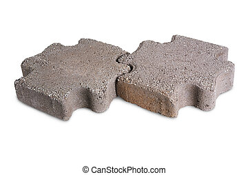 paving stones - Two paving stones isolated on a white ...