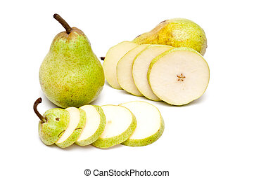 Two pears and slices of a pear over white background