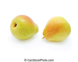 Two pears isolated on the white background