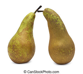 two pears over white