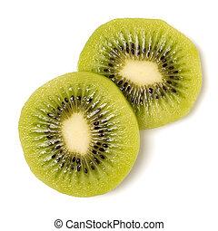 Two peeled kiwi fruit slices isolated on white background ...