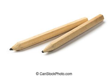 two Pencil stub on white background