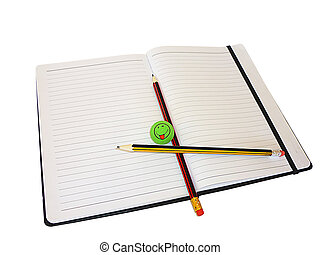 Two pencils and an eraser on a notebook