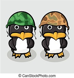 Two penguin in the military helmet standing on blue ice