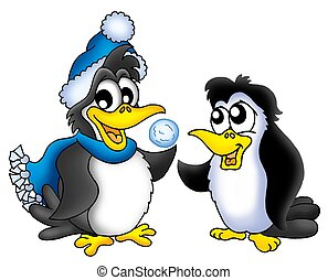 Two penguins with snowball - color illustration.