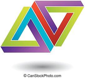 Two penrose triangles optical illusion- Business logo