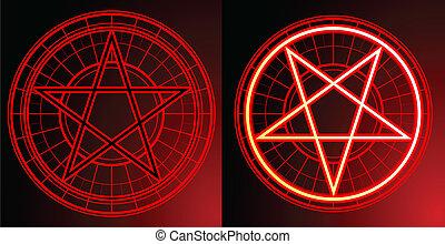 Two Pentagrams on dark background
