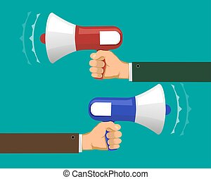 Two people against each other with megaphones