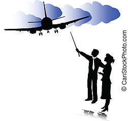 two people and airplane illustration