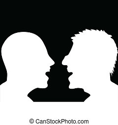 two people arguing white silhouette vector illustration