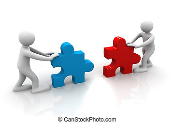 Two people assemble tow piece of a puzzle