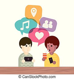 Two people avatars chatting. Vector illustration