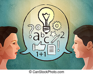 Two people brainstorming and finding new ideas. Digital...