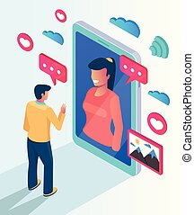 Two people character communicate talking by website smartphone. Online computer phone pc networking date meeting concept. Vector flat cartoon isolated illustration