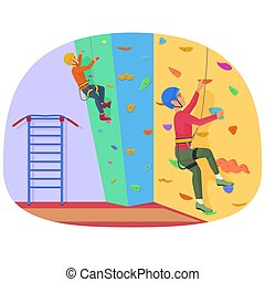 Two people climbing on a rock-climbing wall vector illustration.