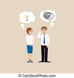 Two people communicate with one another a lot of ideas have none at all
