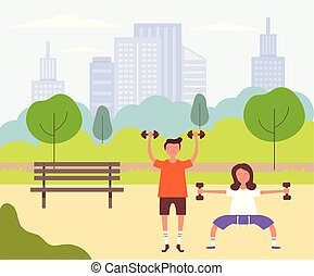 Two people couple man and woman characters doing sport exercising. Healthy lifestyle concept. Vector design graphic flat cartoon isolated illustration