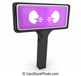 Two People Faces Talking Discussion Communication Store Sign Help 3d Illustration