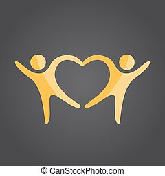 Two people form heart shape holding hands, 2d vector on dark...