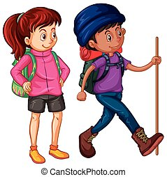 Two people going hiking illustration