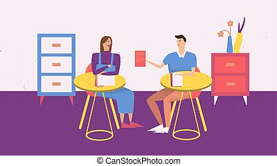 Two people have a meeting in the room