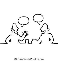 Black line art illustration of two people having a conversation.