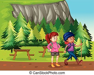 Two people hiking in the national park illustration