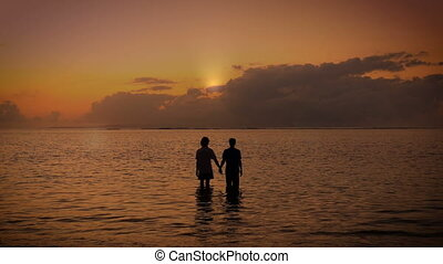 Two people hold hands together and raise their arms to the...