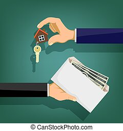 Two people hold in their hands an envelope with money and a key. Sale and purchase of real estate. Stock vector illustration.