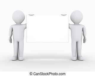 Two people holding a blank sign - Two 3d people are holding...