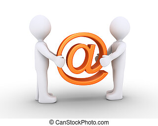 Two people holding e-mail symbol