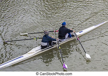 Two people in a canoe