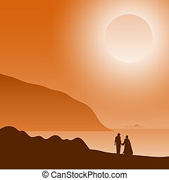 two people in love at sunset on the beach illustration vector.