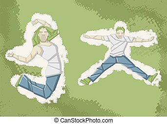 Two people jumping on green background