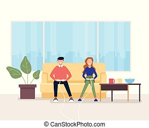 Two people man and woman characters playing video games at home. Vector design graphic flat cartoon isolated illustration