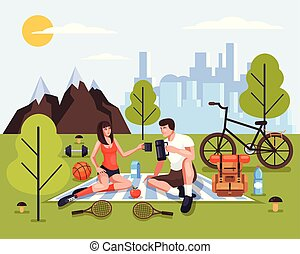 Two people man and woman couple tourists characters relaxing in nature park. Tourism travel adventure sport picnic weekend concept. Vector design graphic isolated illustration